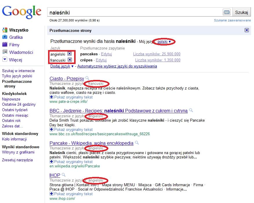 Wyszukiwanie wielojęzyczne - Wybór oryginalnego języka zawartości