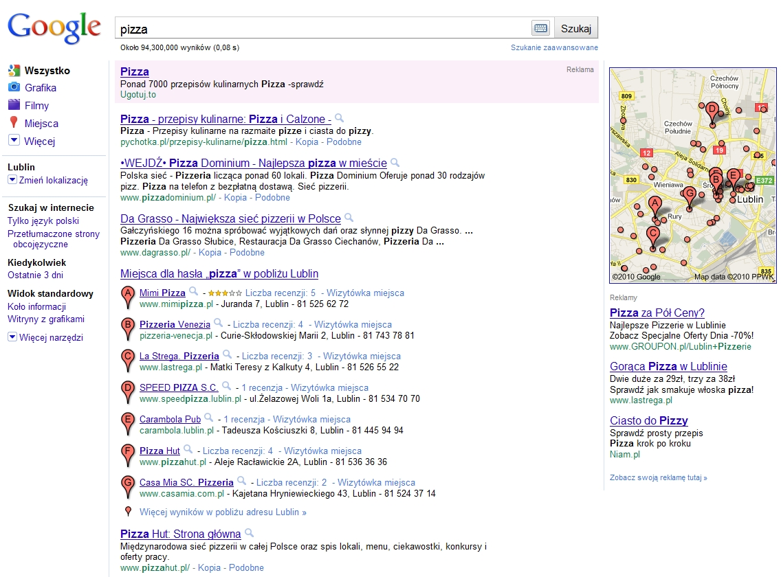 Lokalne wyszukiwanie wSERPach