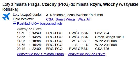 Google loty Praga Rzym