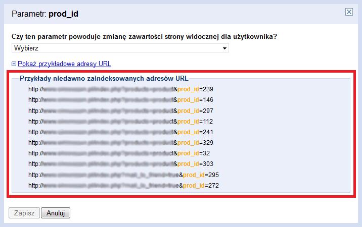 Niedawno zindeksowane adresy URL