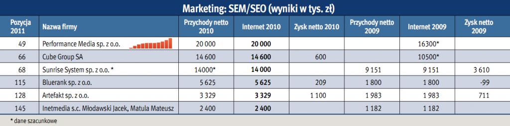 Marketing: SEM/SEO - ranking 2011