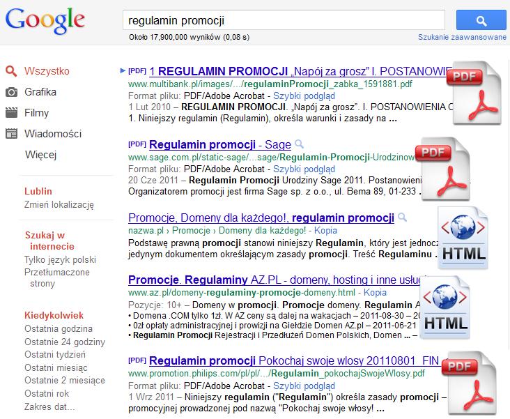 Pliki PDF wrankingu Google