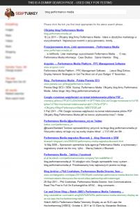 Spreparowane wyniki wyszukiwania wSERP Turkey