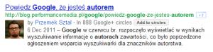 Autor wwynikach wyszukiwania Google
