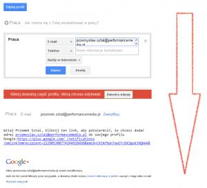 Weryfikacja adresu e-mail wGoogle+