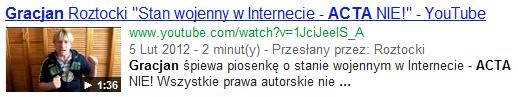Film wideo wwynikach wyszukiwania Google