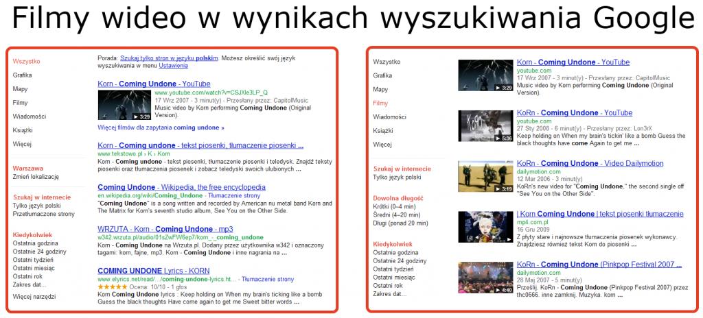 Filmy wideo wwynikach wyszukiwania
