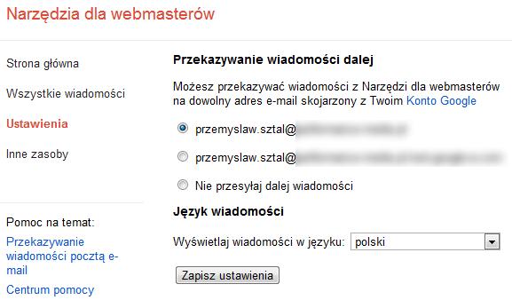 Przekazywanie wiadomości zGWT naadres e-mail