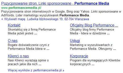 Linki witryny wwynikach wyszukiwania