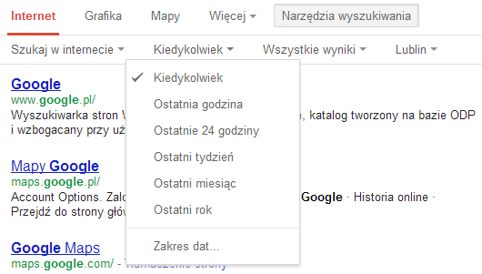 Menu narzędzi wyszukiwania Google