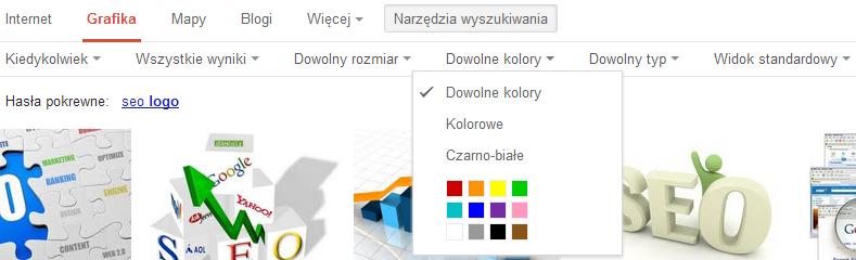 Menu narzędzi dla wyszukiwarki grafik