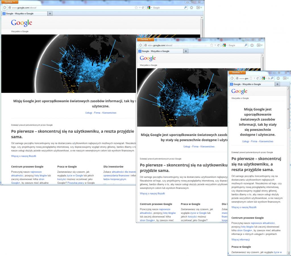 Responsive Web Design - strona About Google