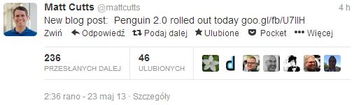 Matt Cutts informuje oaktualizacji Pingwin 2.0