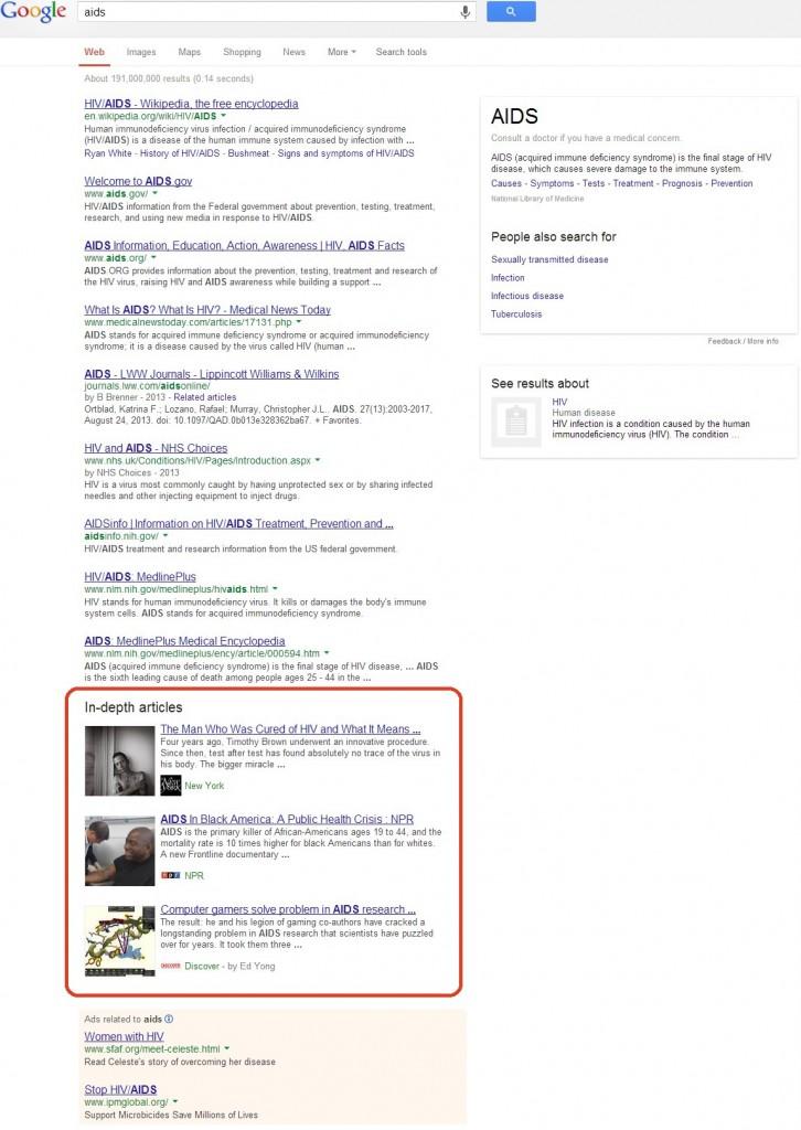 """""""In-depth articles"""" wwynikach wyszukiwania"""