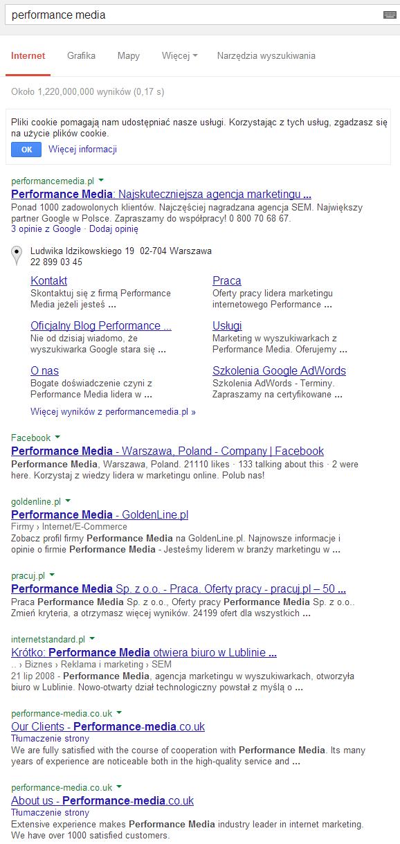 """Wyniki dla zapytania """"performance media"""""""