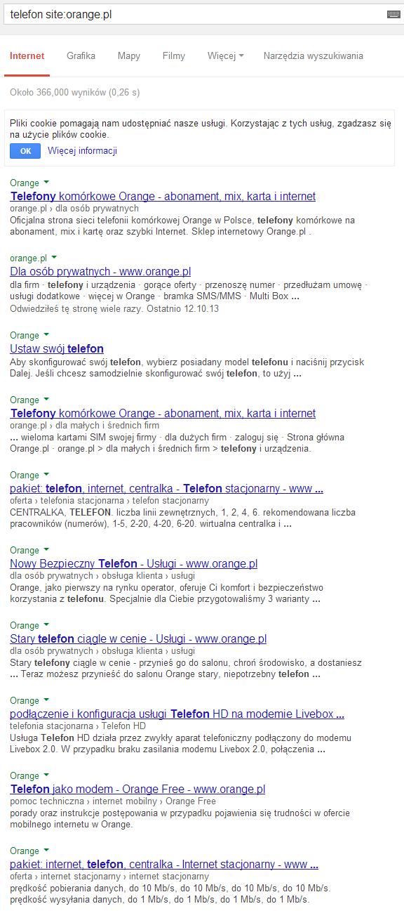 """Wyniki dla zapytania """"telefon site:orange.pl"""""""