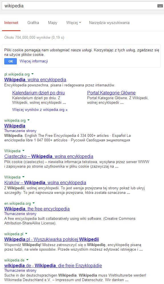 """Wyniki dla zapytania """"wikipedia"""""""