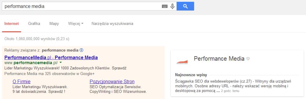 Informacje zestrony Google+ obok wyników wyszukiwania