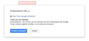 Usuwanie strony zwyników wyszukiwania Google