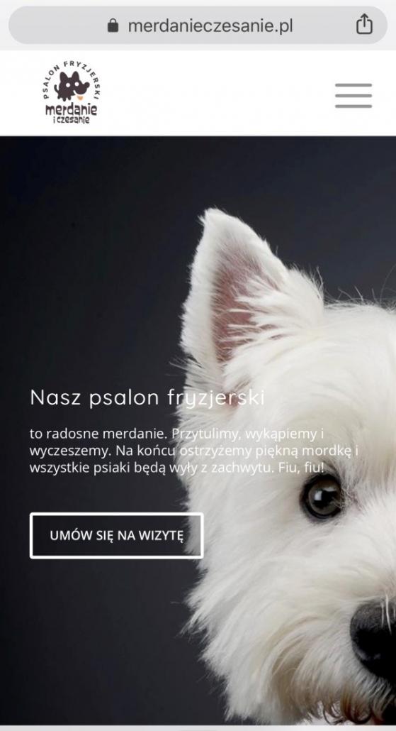 Wygląd strony https://merdanieczesanie.pl naurządzeniu mobilnym