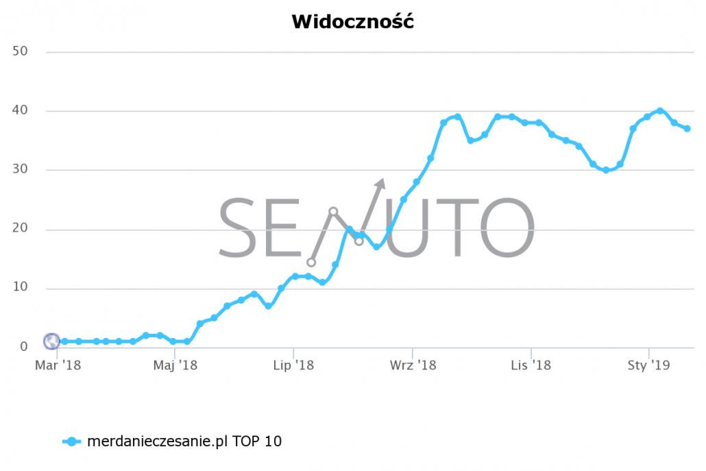 Źródło: Wykres Senuto, liczba słów wTOP10 dla https://merdanieczesanie.pl/