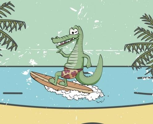 Krokodyl na desce surfingowej