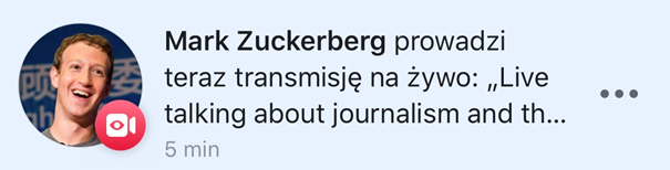 Powiadomienia oLive'ie naFacebooku
