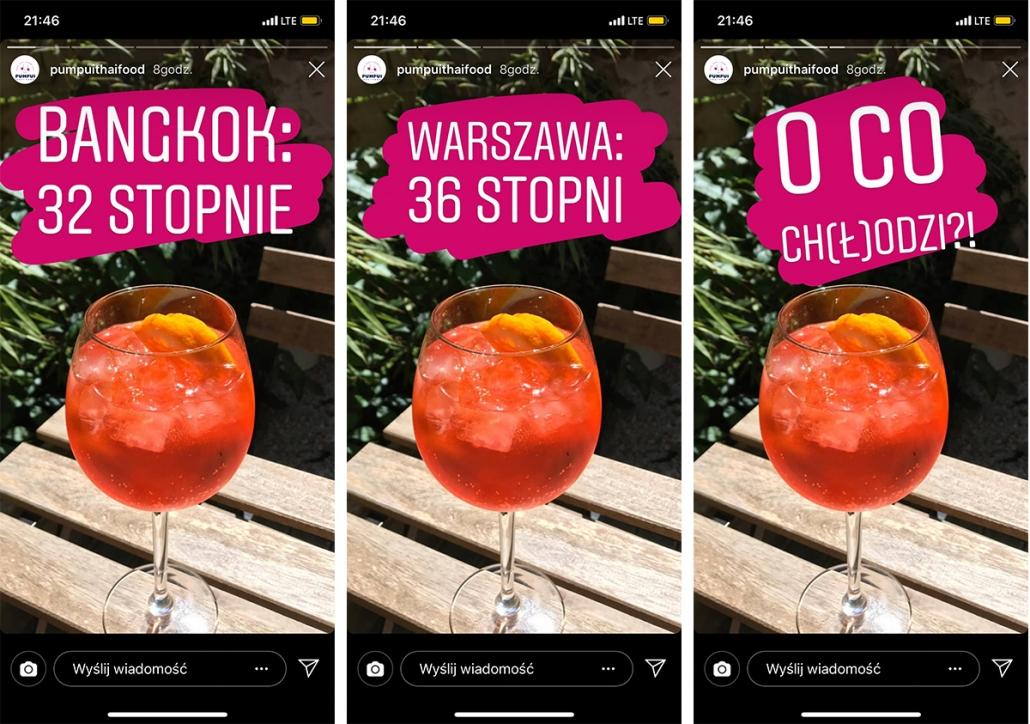 Instagram Stories wykorzystujący sekwencyjność iodwołujący się doaktualnej sytuacji pogodowej