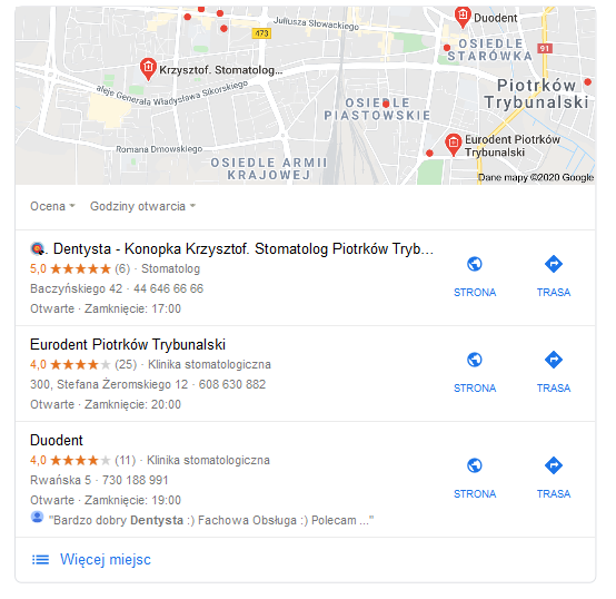 Wyniki lokalne przedstawione wMapach Google