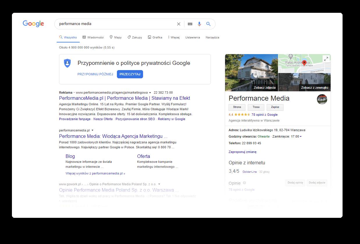 Strona zwynikami wyszukiwania