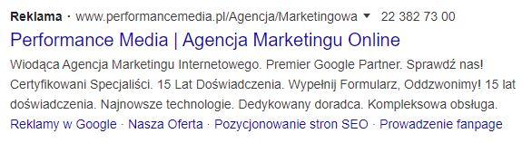 Wynik wyszukiwania zkampanii PPC