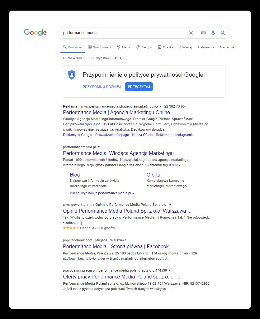 Jak wygląda strona zwynikami wyszukiwania