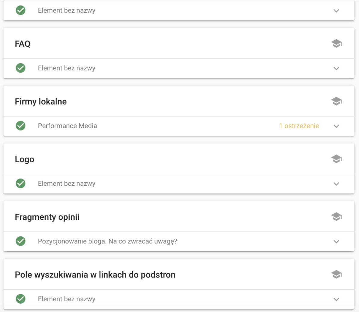 rich snippets - wyniki narzędzia Google