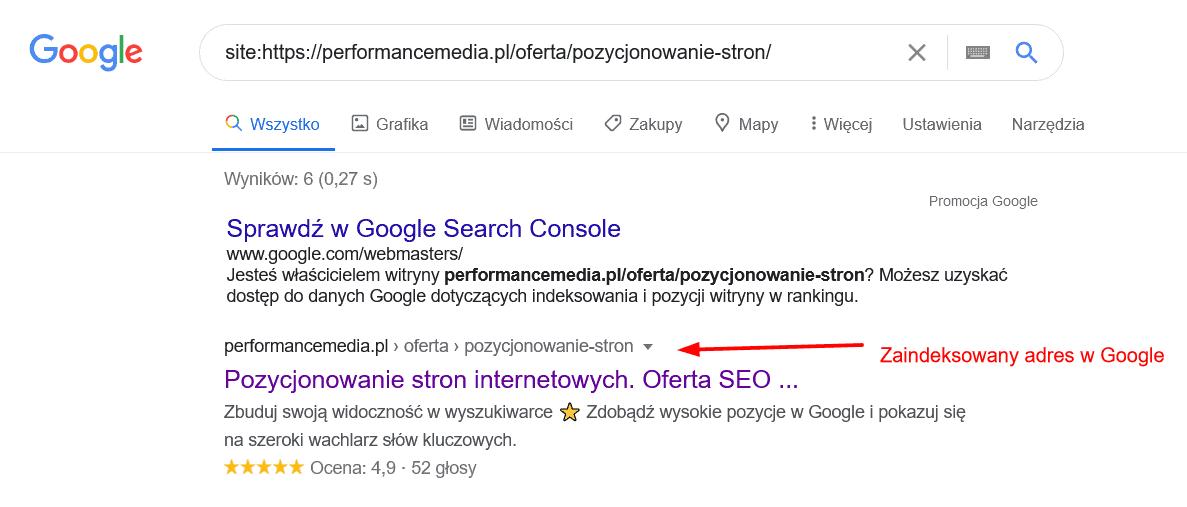 Informacja ozaindeksowanej podstronie wGoogle