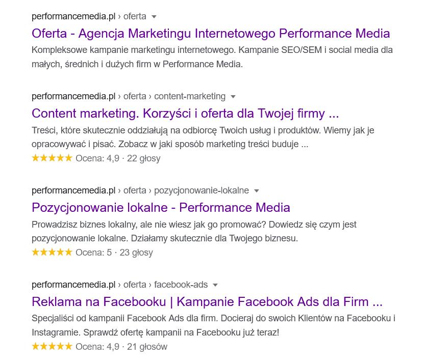 Meta tagi wyświetlane są wwynikach wyszukiwania