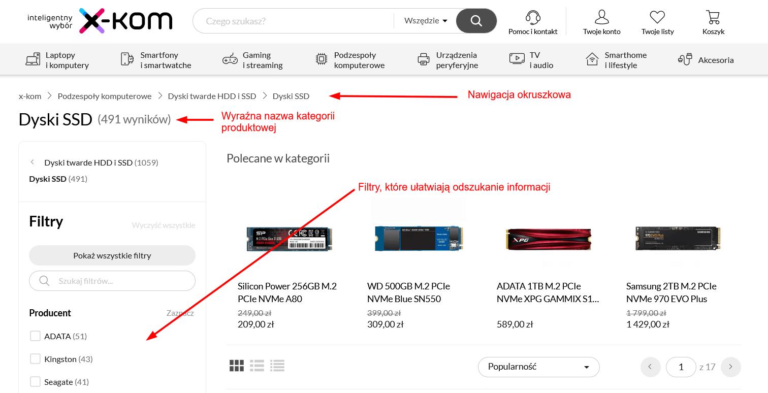 Poprawna nawigacja wsklepie x-kom.pl