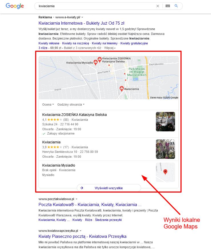 Wyniki lokalne wGoogle Maps