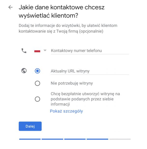 dane kontaktowe google maps