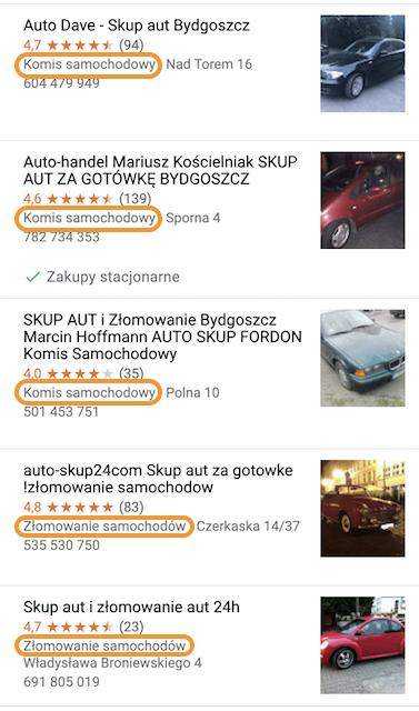 skup aut Bydgoszcz wizytówki Google Maps