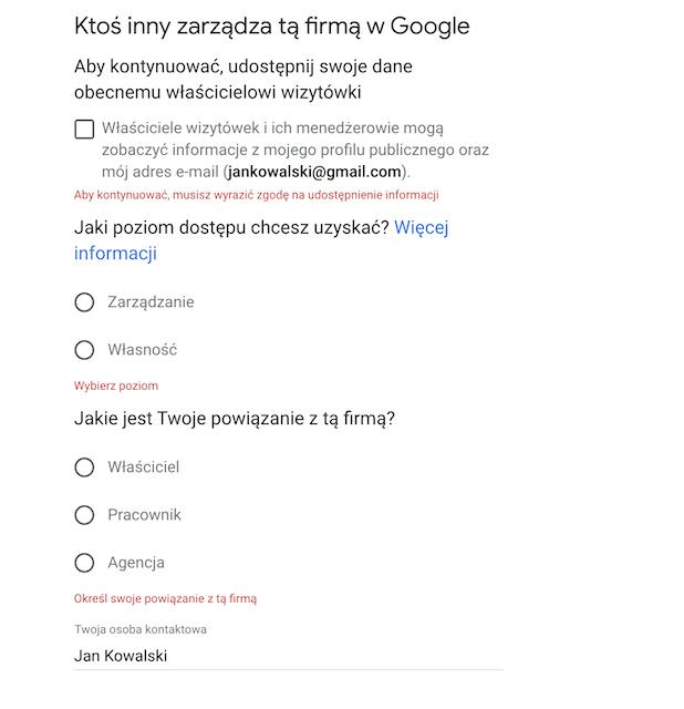 uzupełnianie informacji przy przejmowaniu wizytówki Google