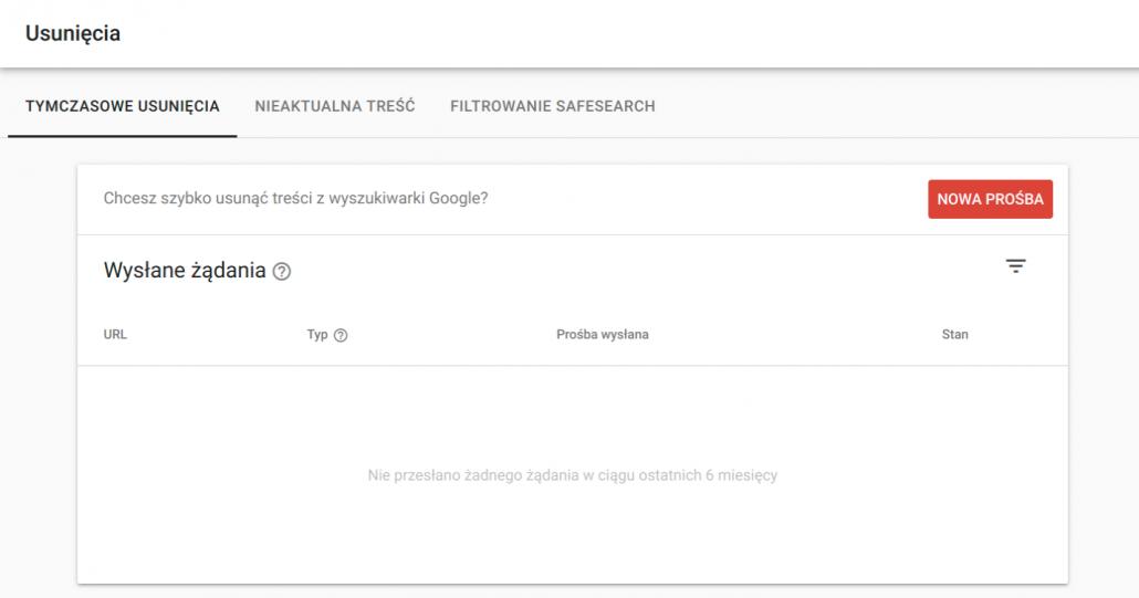 Usunięcia wGoogle Search Console