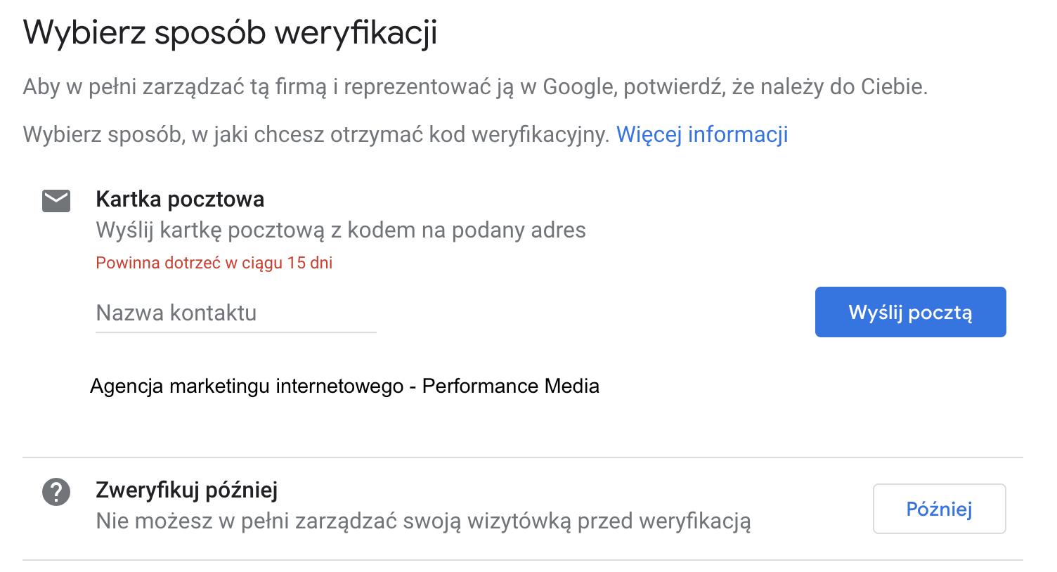 sposoby weryfikacji wizytówki Google