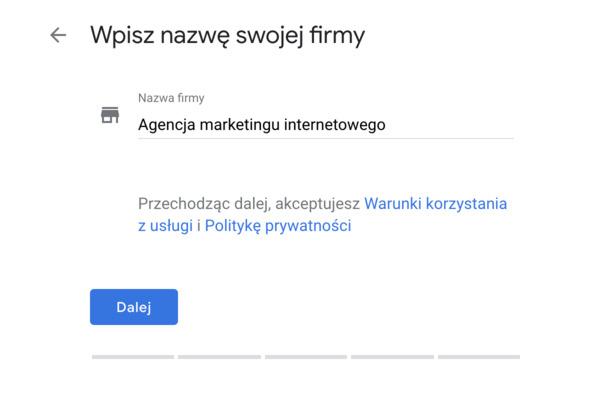 nazwa wizytówki google moja firma