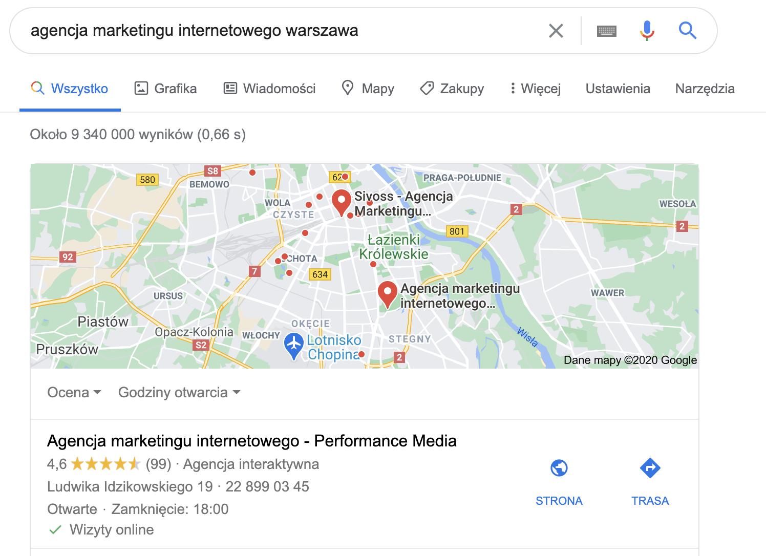 wynik google maps