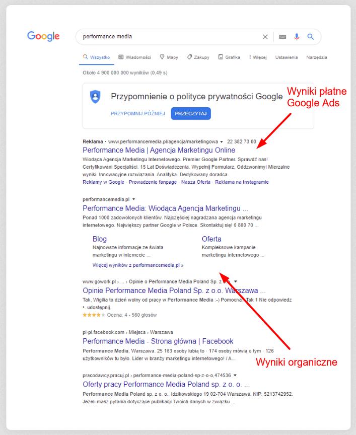 Strona zwynikami wyszukiwań wGoogle