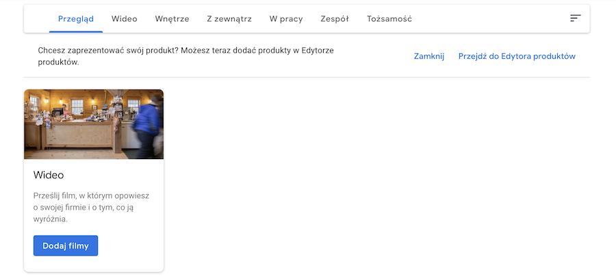 Kategorie zdjęć Google Moja Firma