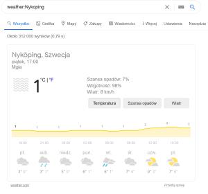 Komenda zaawansowanego wyszukiwania weather