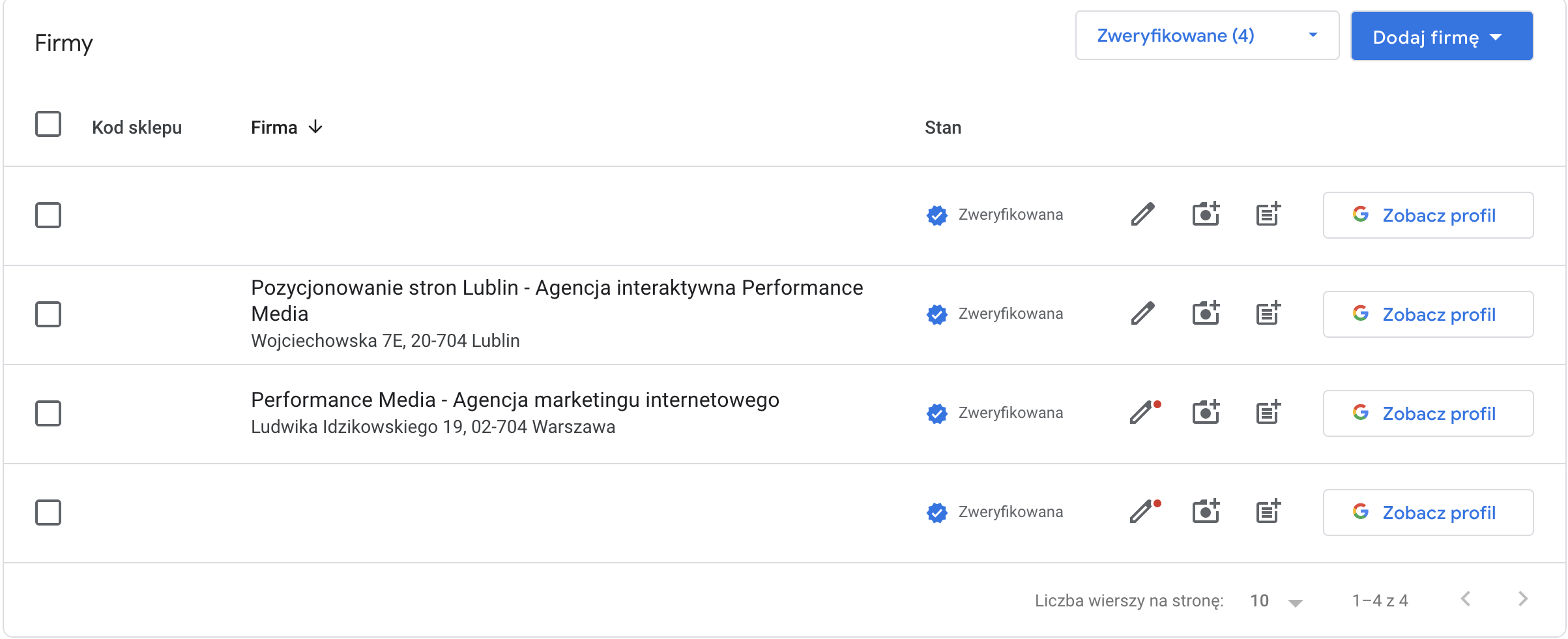 lista firm Google Moja Firma