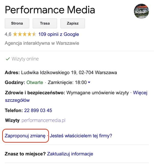 zaproponuj usunięcie wizytówki Google